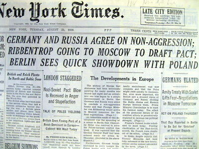 1939 NY Times newspaper GERMAN & SOVIET sign NON AGGRESSION PACT b4 WW II starts
