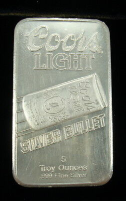 COORS LIGHT SILVER BULLET 5oz .999 SILVER BAR - SUNSHINE MINTING COMPANY