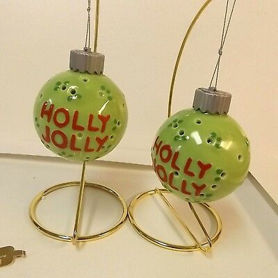 Ceramic Round Ball Christmas Tree Ornament Lot of 2 Green by Roman No Display