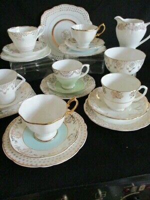 Vintage mismatched English china pale green and gold trio Beautiful
