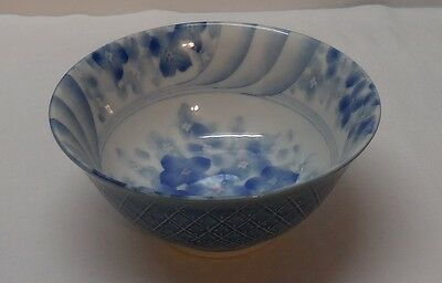 Asian Bowl with Flowers Blue and White Porcelain Footed Signed Vintage