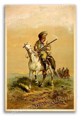 """1880s """"The Scout - Buffalo Bill"""" Vintage Style Western Poster - 24x36"""