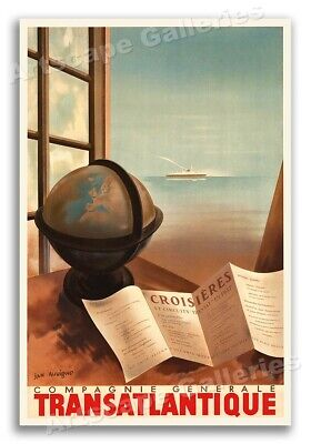 1930s Paris to Algeria Vintage Style French Ocean Liner Travel Poster 16x24