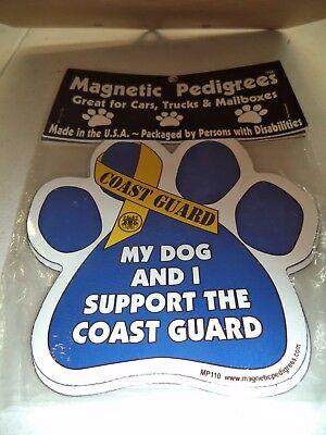 My Dog And I Support The Coast Guard - Paw Print Magnet