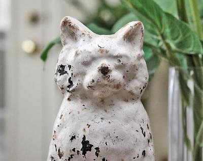 """Antique c1800's Solid Cast Iron Large 12"""" White Setting Cat Doorstop Early Paint"""