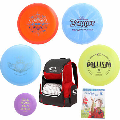 Latitude 64° Complete Disc Golf Gift Set - 4 Discs + Core Backpack Bag, Rules