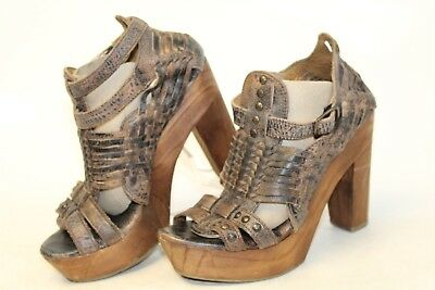 058e02b5e343 Bed Stu Womens 7 Distressed Woven Leather Platform Heels Sandals Shoes anq