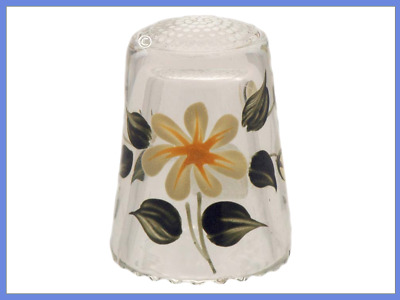 Beautiful Lead Crystal Glass Thimble, Flowers 20th Century