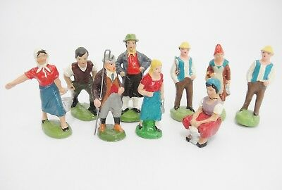 German Putz Mixed Lot of 9 Miniature Figures People Vintage Christmas Village