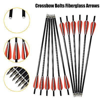"Crossbow Bolts Target Arrows 16"" Hunting Archery w/ Replaced Arrowhead Flat Nock"