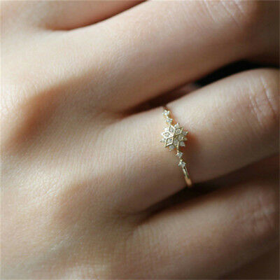 Women's Snowflake Rhinestone Rings Wedding Engagement Christmas Jewelry B
