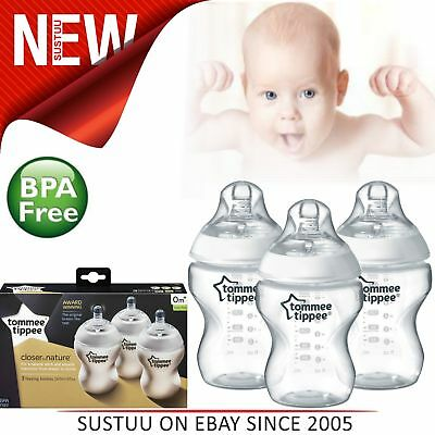 Tommee Tippee Closer to Nature Baby Feeding Bottle│260ml/9oz Bottles x3│Safe│New