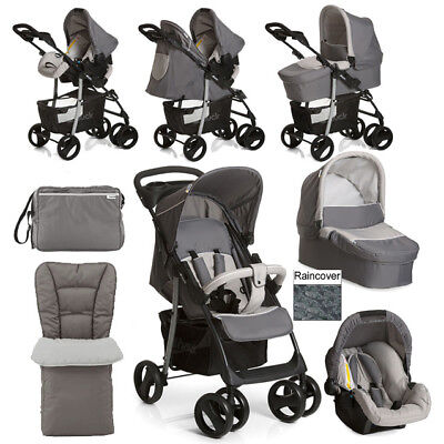 Hauck shopper SLX Trio Travel System  Pram Set Changing Bag Cosytoes Stone/Grey