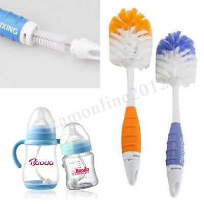 2 in 1 Baby Milk Feed Bottle Nipple Nozzle Spout Tube Cleaning Non-slip Brush