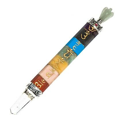 Seven Chakra Bonded Engraved Chakra Symbol Healing Wand With Angel (Size-4 Inch)