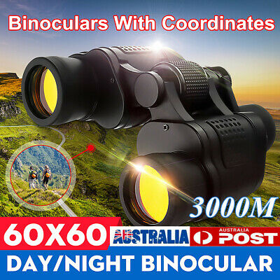 Day/Night 60x60 5-3000M Waterproof HD Hunting Binoculars Telescopes Outdoor AU