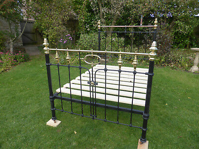 Attractive Victorian Cast Iron + Brass Double Bed