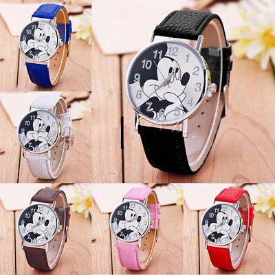 Mickey Mouse Round Wrist Watch Girls Boys Children Kids Gift Party Christmas
