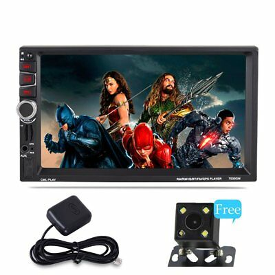 Rear View Camera + Double Din Car Stereo Radio MP3 Player Bluetooth GPS with Map