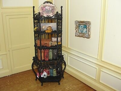 SALE:  Dollhouse Miniature Black Wire Shelf Display w Accessories