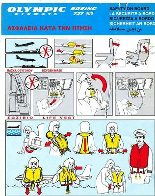 Cpa Pk Ak  Aviation Compagnie Olympic Airways Safety On Board  Boeing 737-400
