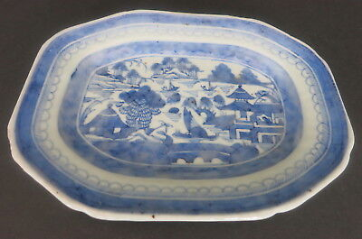 "Antique Chinese Canton Export 8.75"" X 6.5"" Blue & White  Plate Dish Platter"