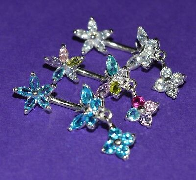 Surgical Steel & Sterling Silver Butterfly And Flower Double Gem Style Belly Bar