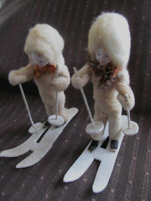 Set of 2~Vintage Antique Christmas Cotton Batting Snow Skiers Skis~Plaster Face