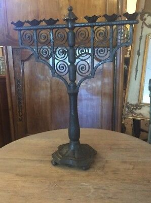 """Antique French Gothic Hand Wrought Iron 25"""" Candelabra Candle Stand"""