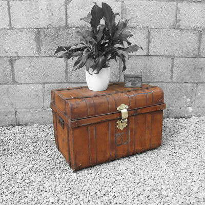 Metal Trunk Vintage Old Original 1930s Tin Coffee Table Toy Box Chest Storage