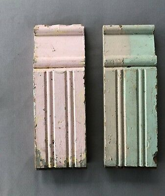 2 Antique 1890's Shabby Plinth Porch Block Molding Gingerbread Green Pink 502-18