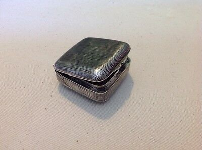 Vintage Antique German Sterling Silver 800 Ribbed Pill Sniff Box Lidded Hinged