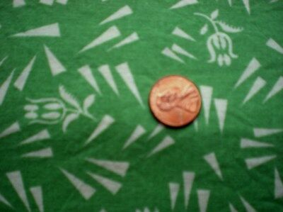 TULIPS on GREEN Vtg FEEDSACK Piece Quilt Sewing DollClothes Craft Cotton Fabric