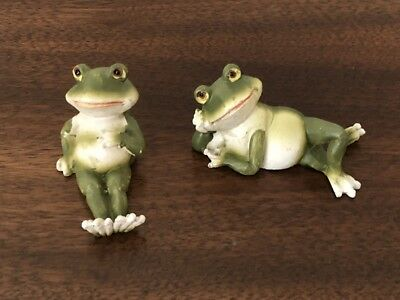 2 Miniature Frog Figurines Ganz Resin New