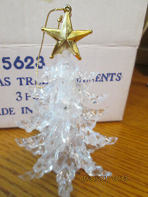 "Clear Christmas Tree Ornament Figurine Gold Star On Top 4 1/4"" Tall  3 Pcs NIB"