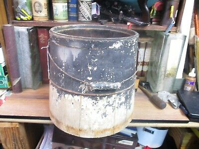 Antique Primitive Bucket Tapered Pail Wire Bail Wood Handle Wooden Vtg Country