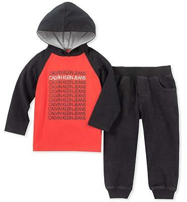 Calvin Klein Boys Red Hooded Logo Top 2pc Pant Size 2T 3T 4T 4 5 6 7