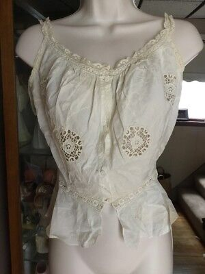 Antique Victorian camisole linen embroidery  lace hand stitched Delicate Buttons