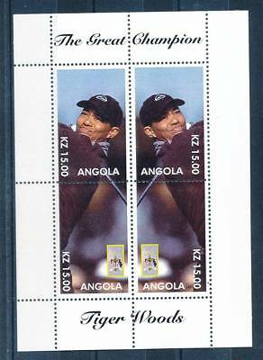 180569) Angola ** gez. Blockausgabe Tiger Woods Golf