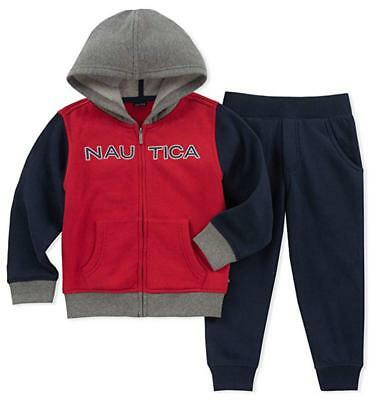 Nautica Big Boys Red Zip-Up Hoodie 2pc Sweatsuit Size 8 10 12 $60