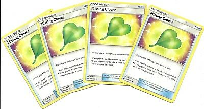 4x MISSING CLOVER 129/156- ULTRA PRISM Pokemon Card- Uncommon Trainer-NM/MINT
