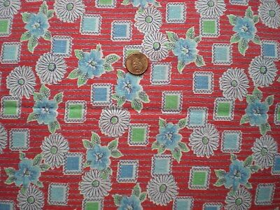 FLORAL GEO on RED Full Vtg FEEDSACK Quilt Sewing DollClothes Craft Cotton Fabric
