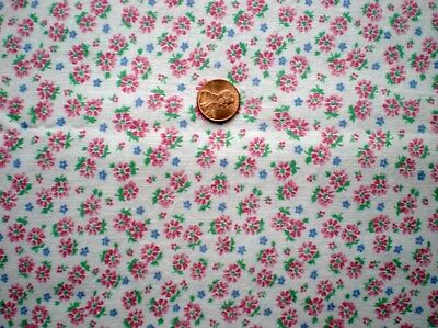 Tiny Pink FLORAL Full Vtg FEEDSACK Quilt Sewing DollClothes Craft Cotton Fabric
