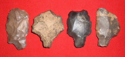 (4) Nice Aterian Early Man Points (30K - 80K BP), Prehistoric African Artifacts