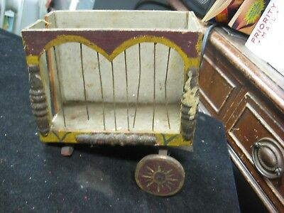Antique Handcrafted Primitive Wooden Circus Wagon Incomplete