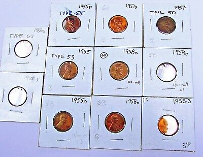 lot of 11~1951-1958~U.S.~Pennies~One Cent~Wheat Penny~
