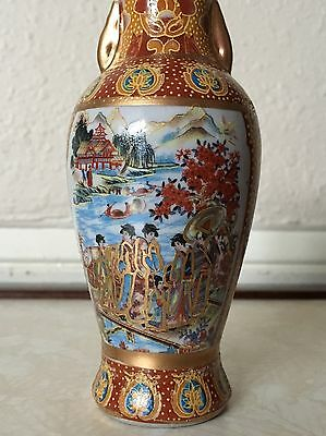 """Antique Asian Hand Painted Satsuma Heavy Glazed Vase Statue Sculpture 6"""" Tall"""