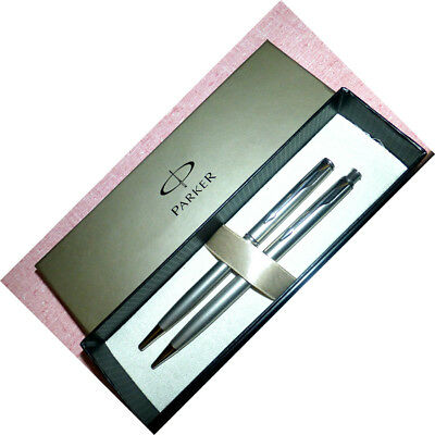 PARKER INSIGNIA Ball Pen & PENCIL Satin STAINLESS STEEL set ct