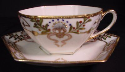 Antique Nippon Cup & Saucer Hexagonal Design Japan Maker's Flaw