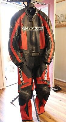 Full Agv Leather Racing Suit Red Black Silver US 48 2 Piece